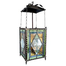 English Brass, Stained, Etched and Leaded Glass Two-Light Hanging Lantern