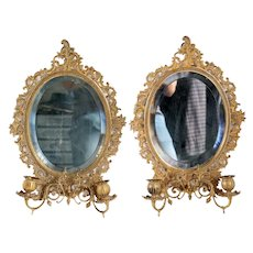 Pair of English Beveled Mirrored Brass Oval Two-Arm Candle Wall Sconces