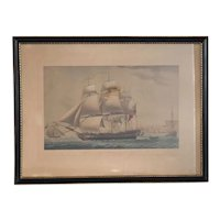 English ROBERT DODD Colored Engraving and Aquatint, The East Indiaman Ship at Madras