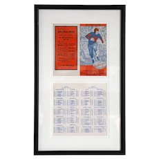 Vintage Framed American Illinois Red Grange 1941 College Football Schedule
