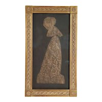 Vintage English Brass Rubbing on Paper, Lady Margaret Peyton, The Lace Lady