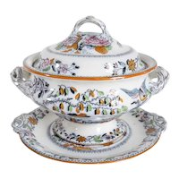 Large English Ashworth Brothers Ironstone Transferware Flying Bird Tureen and Underplate