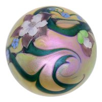 Vintage American Orient & Flume Art Glass Iridescent Gold Floral Paperweight