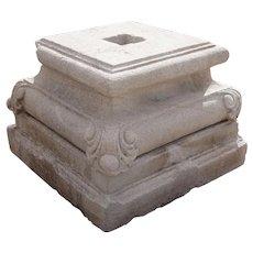 Anglo Indian Limestone Pillar Base