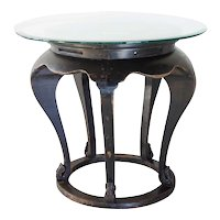 Chinese Glass Top Elm Round Center Table