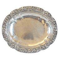 German/Austrian Silver Floral Repousse Oval Serving Dish