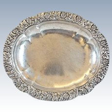 German/Austrian Silver Floral Repousse Oval Serving Dish