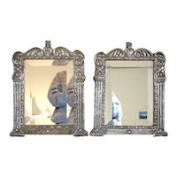 Rare Pair of Indo-Portuguese Silver Framed Mirrors