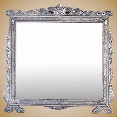Rare Large Indo-Portuguese Silver Mounted Teak Framed Mirror