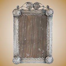 Small Indo-Portuguese Silver Mounted Frame