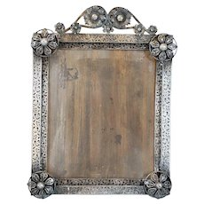 Small Indo-Portuguese Hand Chased Silver Mounted Frame