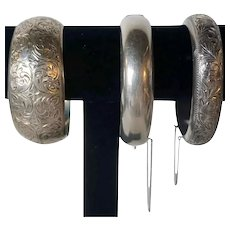 Three Large Vintage Japanese Chased Sterling Silver Bangle and Cuff Bracelets