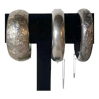 Three Vintage Japanese Chased Sterling Silver Bangle and Cuff Bracelets