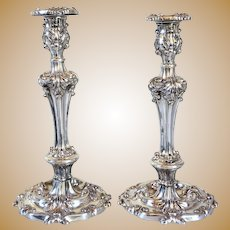 Large Pair of English Victorian Silverplate Repousse Candlesticks