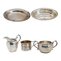 Five Pieces of American Gorham and Whiting Sterling Silver Holloware