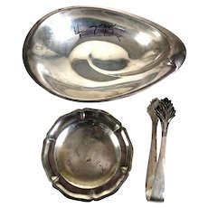 Vintage America Sterling Silver Dish, Japanese Sugar Tongs and Mexican Plate