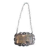Vintage English DJ Silver Repairs Sterling Silver Sherry Bottle Tag (4 available)