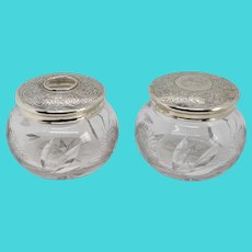 Pair of American Webster Sterling Silver and Cut Glass Dresser Jars