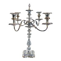 Large English Ellis-Barker Silver Plate Four-Arm Candelabrum