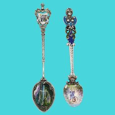 Two Continental 800 Silver and Enamel Souvenir Spoons