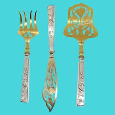 Set of Three Continental Jugendstil Gilt and 830 Silver Fish Service Flatware