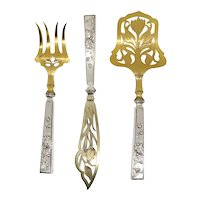 Set of Three Scandinavian Art Nouveau Gilt 830 Silver Fish Service Flatware