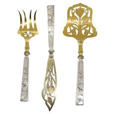 Set of Three Scandinavian Art Nouveau Gilt 830 Silver Fish Service Flatware