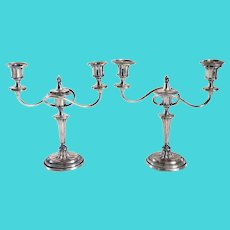 Pair of English Georgian Style Ellis-Barker Silver Plate Three-Light Candelabrum