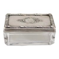 Small French Silver Armorial Lid Glass Rectangular Dresser Box