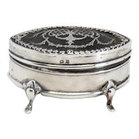 Fine English Edwardian Henry Matthews Sterling Silver and Horn Pique Jewelry Box