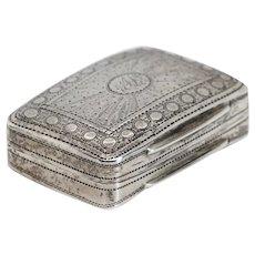 English Georgian Cocks & Bettridge Sterling Silver Bright Cut Vinaigrette Box