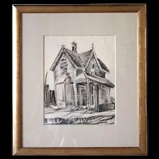 MURIEL SIBELL WOLLE Charcoal Drawing, Tabor House