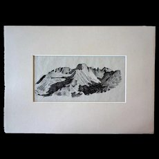 WILLIAM HENRY TRAHER Drawing on Paper, Rocky Mountain Landscape