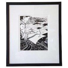 MARK A. LUNNING Linocut Print, Passages, 5/10