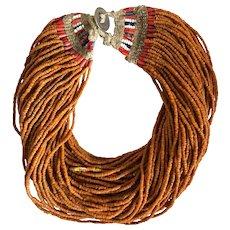 Vintage Nagaland Orange Glass Bead Multi-Strand Necklace