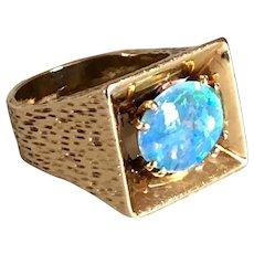 Vintage Hammered 14k Gold and Opal Triplet Cabochon Ring