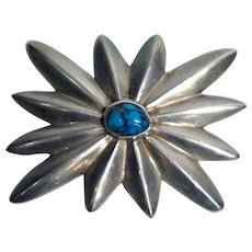Vintage Native American Silver and Turquoise Floral Belt Buckle