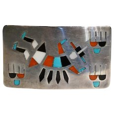 Vintage Native American Zuni Silver Inlaid Turquoise and Stone Belt Buckle
