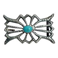 Vintage Native American Silver and Turquoise Cabochon Belt Buckle