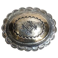 Vintage Native American Navajo Concho Chased Silver Belt Buckle