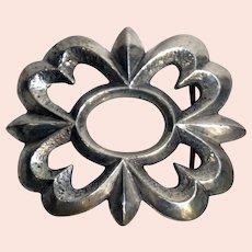 Vintage Native American Cast Sterling Silver Floral Openwork Belt Buckle