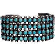 Vintage Native American Zuni Style Silver and Turquoise Snake Eyes Cuff Bracelet