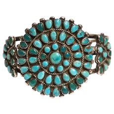 Vintage Native American Navajo Silver and Turquoise Petit Point Cluster Cuff Bracelet