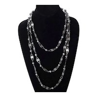 Very Long Art Deco Silver Wire Link and Beaded Flapper Necklace