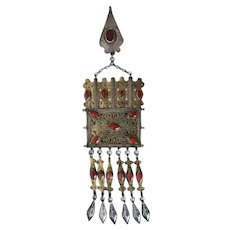 Large Turkmenistan Tribal Silver and Carnelian Necklace Amulet Pendant