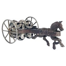 American Victorian Cast Iron Horse and Cart Bell Pull Toy