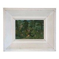 Small Vintage TOSHIAKI KOBAYASHI Oil on Board Painting, Forest Landscape