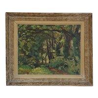 JEHAN BERJONNEAU Oil on Artist Board Painting, Forest of Montmorillon