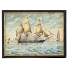Signed American School Watercolor on Paper Painting, Portrait of a Clipper Ship