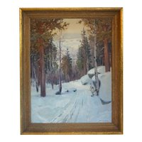 Vintage AKSEL P. KNUDSEN Oil on Canvas Painting, Snowy Forest Road